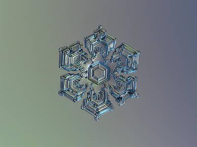 Christmas Photograph - Snowflake Photo - Silver Foil by Alexey Kljatov