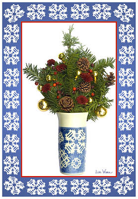 Hand Thrown Pottery Digital Art - Snowflake Vase With Christmas Regalia by Lise Winne