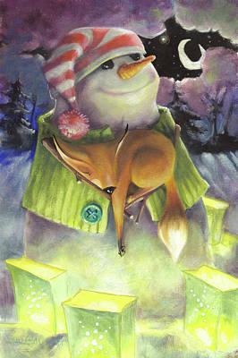 Snowman And The Fox Print by Barbara Hranilovich