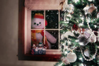 Snowman At The Window Print by Tom Mc Nemar