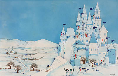Castle Painting - Snowman Castle by Christian Kaempf