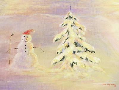 Christmas Eve Painting - Snowman Crop by Ken Figurski