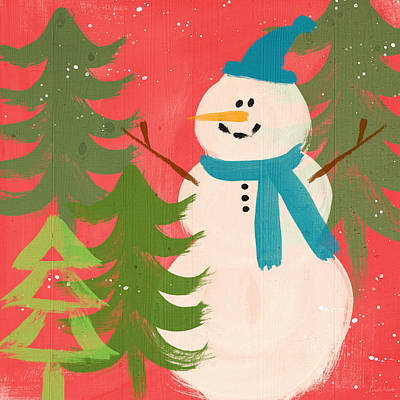Snowman In Blue Hat- Art By Linda Woods Print by Linda Woods