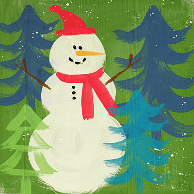 Snowman In Red Hat-art By Linda Woods Print by Linda Woods