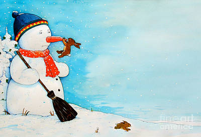 Rabbit Drawing - Snowman With Little Rabbit by Christian Kaempf