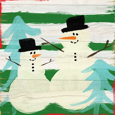 Snowmen With Blue Trees- Art By Linda Woods Print by Linda Woods