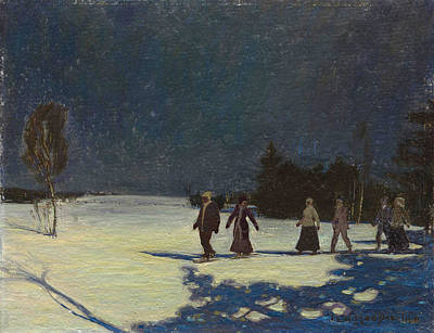 Painting - Snowshoeing By Moonlight by James Edward Hervey MacDonald