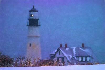 New England Lighthouse Photograph - Snowstorm Hits Portland Lighthouse by Jeff Folger