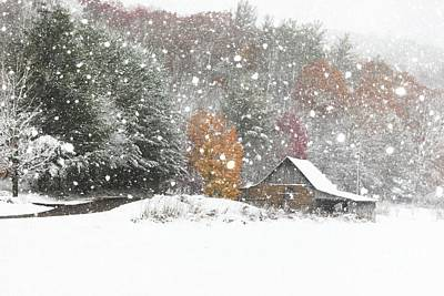 Snow Drifts Photograph - Snowy Barn by Benanne Stiens