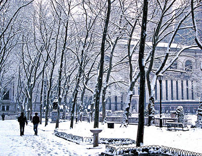 Photograph - Snowy Bryant Park Ny Public Library by Tom Wurl
