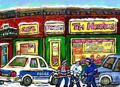 Corner Cafe Painting - Snowy Day Original Canadian Hockey Art Paintings For Sale The Donut Shop Hot Coffee At Tim Horton's by Carole Spandau