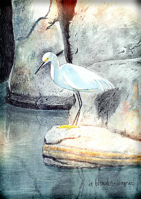 Egret Mixed Media - Snowy Egret by Arline Wagner