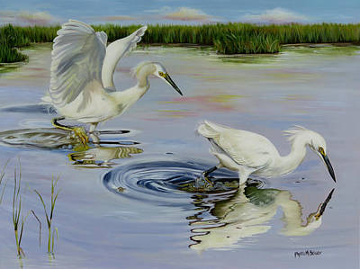 Snowy Egret Hunting Party Original by Phyllis Beiser