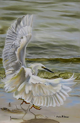 New Orleans Oil Painting - Snowy Egret Landing On The Shore by Phyllis Beiser