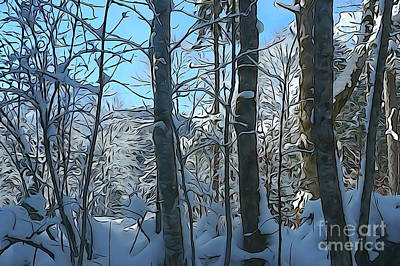 Snowy Forest Print by JR Photography