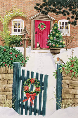 Robin Painting - Snowy Front Garden by Linda Benton