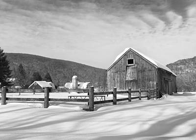 Snowy New England Barns Bw Print by Bill Wakeley