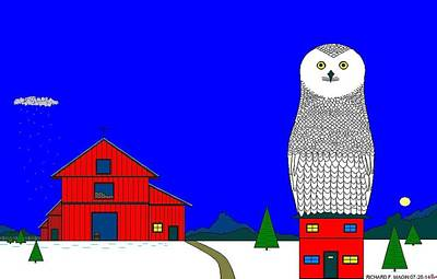 Snowy Owl On Red House. Print by Richard Magin