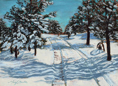 Snowy Road Home Original by Mary Benke