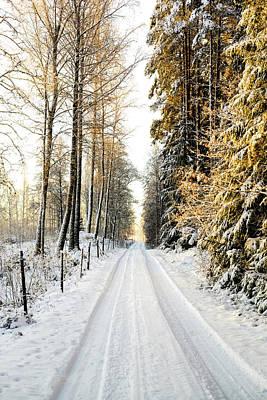 Snowy Rural Road Print by Marius Sipa