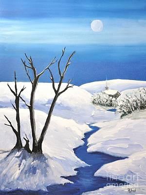 Winter Scene Painting - Snowy Scene by Reb Frost
