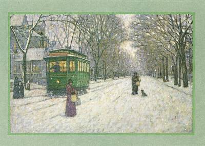 Snowy Scene With Old Fashioned Print by Gillham Studios