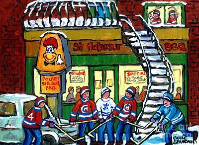 Corner Cafe Painting - Snowy Staircase Street Hockey Original Montreal Paintings For Sale St Hubert Bbq  Winter Scene Art by Carole Spandau
