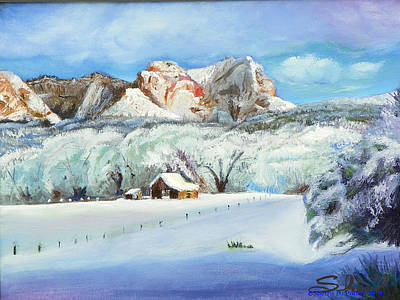 Snowscape Painting - Snowy Sugar Knoll by Sherril Porter