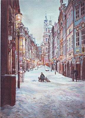 snowy Sunday night in Prague Print by Gordana Dokic Segedin