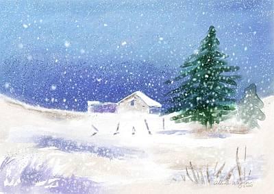 Snowy Winter Scene Print by Arline Wagner