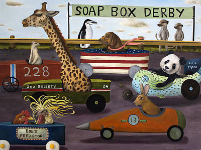 Meerkat Painting - Soap Box Derby by Leah Saulnier The Painting Maniac