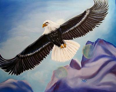 Soaring Painting - Soaring Eagle by Kathern Welsh
