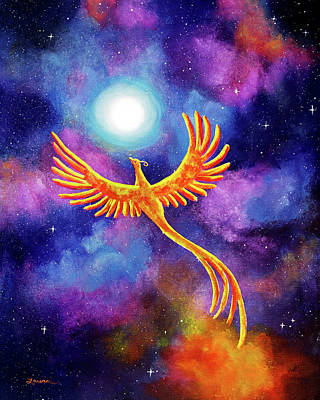 Phoenix Painting - Soaring Firebird In A Cosmic Sky by Laura Iverson