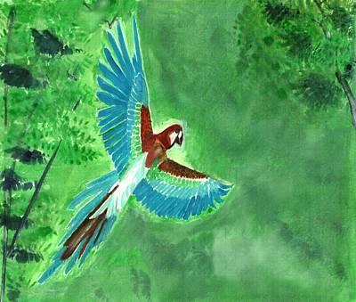 Soaring Painting - Soaring Macaw by Ramon Bendita