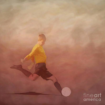 Soccer Player Kicking Print by Randy Steele