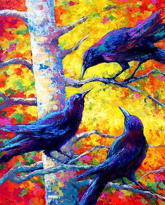 Crows Painting - Social Cub I by Marion Rose