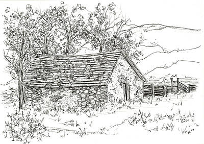 Ghost Towns Drawing - Sod House Nevada by Cathie Richardson