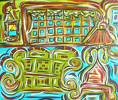 Folk Art Painting - Sofa And Lamp by Shelby  Leigh