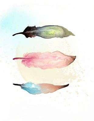 Soft Feathers Watercolor Print by Manuela Pugliese