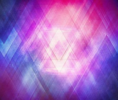 Soft Modern Fashion Pink Purple Bluetexture  Soft Light Glass Style   Triangle   Pattern Edit Print by Philipp Rietz