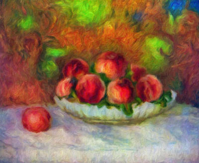 Soft Peaches Still Life Print by Georgiana Romanovna
