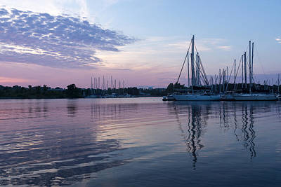 Soft Purple Ripples - Yachts And Clouds Reflections Print by Georgia Mizuleva