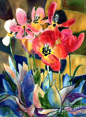 Soft Quilted Tulips Print by Kathy Braud
