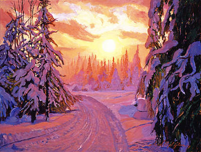 Winter Roads Painting - Soft Snow Sunrise by David Lloyd Glover