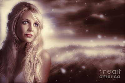 Soft Young Elegant European Woman In Winter Snow  Print by Jorgo Photography - Wall Art Gallery
