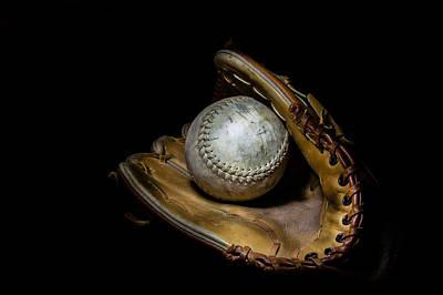 Softball And Glove Print by Erin Cadigan