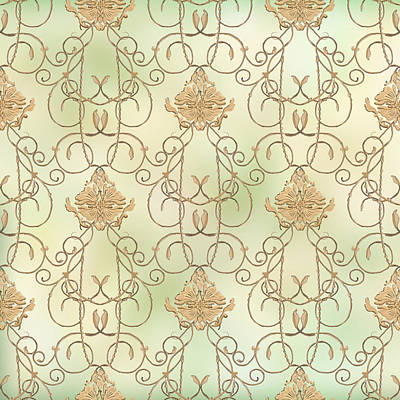 Painted Mixed Media - Softly Summer - French Parisian Apartment Damask Mint by Audrey Jeanne Roberts
