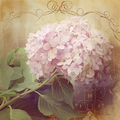 Country Cottage Mixed Media - Softly Summer - Hydrangea 2 by Audrey Jeanne Roberts