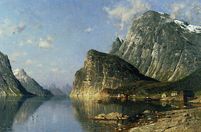 Fjord Painting - Sogne Fjord Norway  by Adelsteen Normann