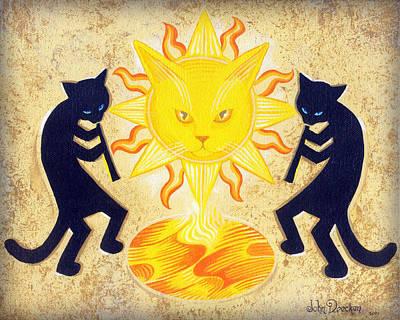 Solar Feline Entity Print by John Deecken